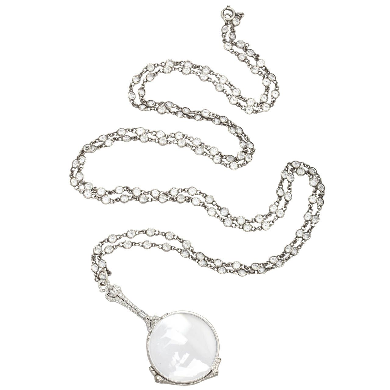 Art Deco Lorgnette Brings Diamonds to Your Eyes | From a unique collection of vintage more necklaces at https://www.1stdibs.com/jewelry/necklaces/more-necklaces/