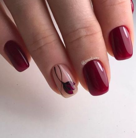 70+ Ideas nails design short maroon