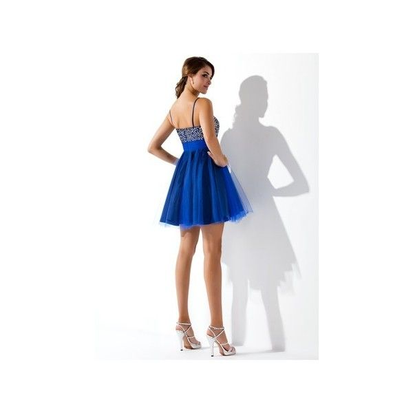 Royal Blue Empire Sweetheart Short Mini Tulle Homecoming Dress Beading... ($119) ❤ liked on Polyvore featuring dresses, short skirts, sequin homecoming dresses, white homecoming dresses, beaded cocktail dress and royal blue cocktail dress