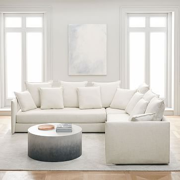 Our Cozy Room For All Serene Sectional Offers The Ultimate In Comfort With A Deep Low Profile That S Plumped Wit Sectional West Elm Sectional Sectional Sofa