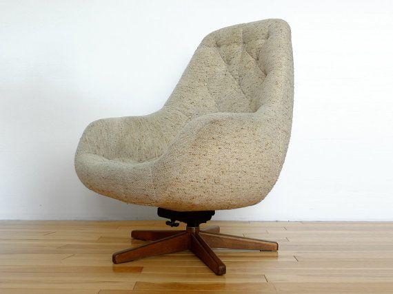 Mid Century Beige Scoop Swivel Armchair Vintage Retro