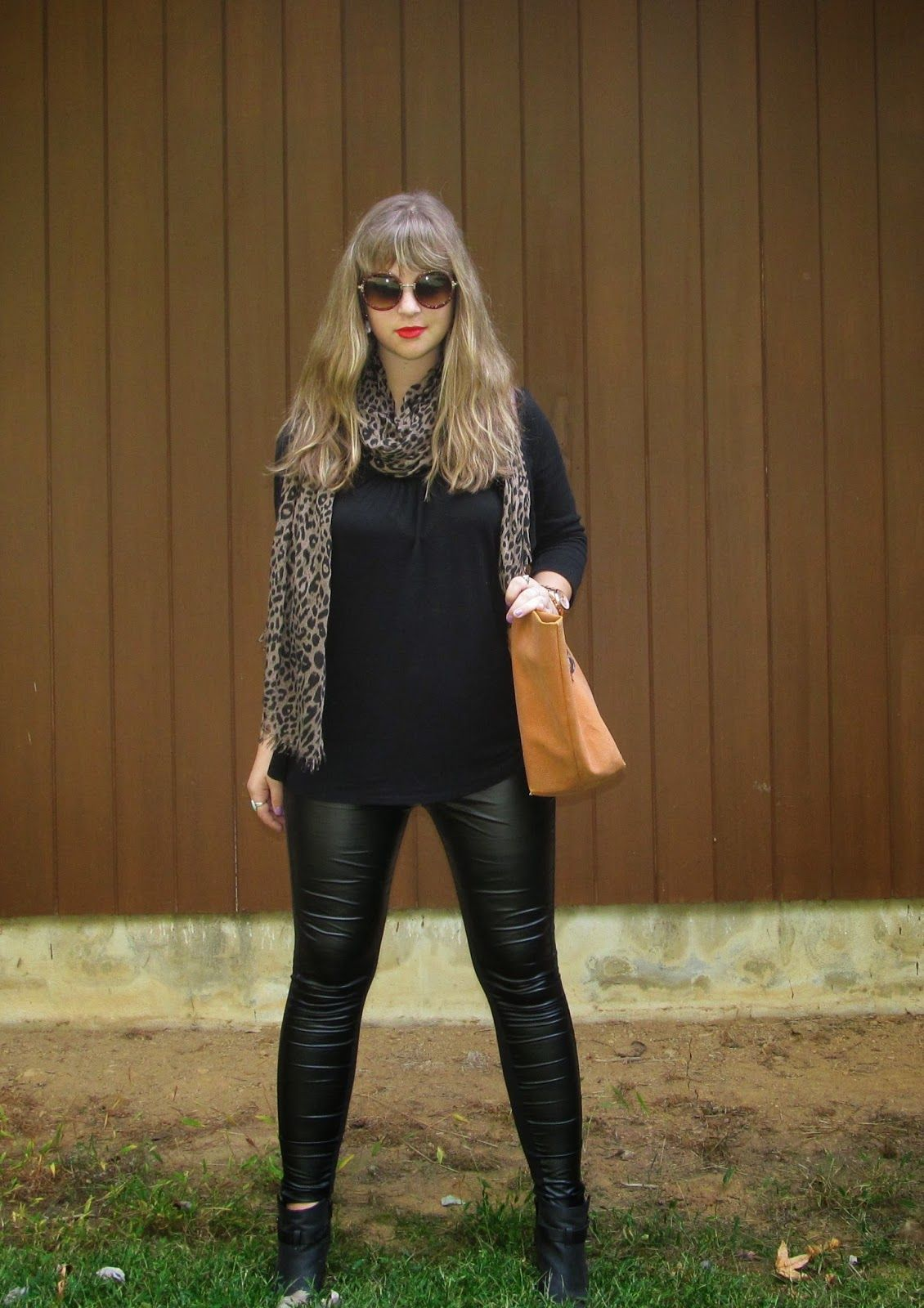 Round Sunnies and Faux Leather Leggings