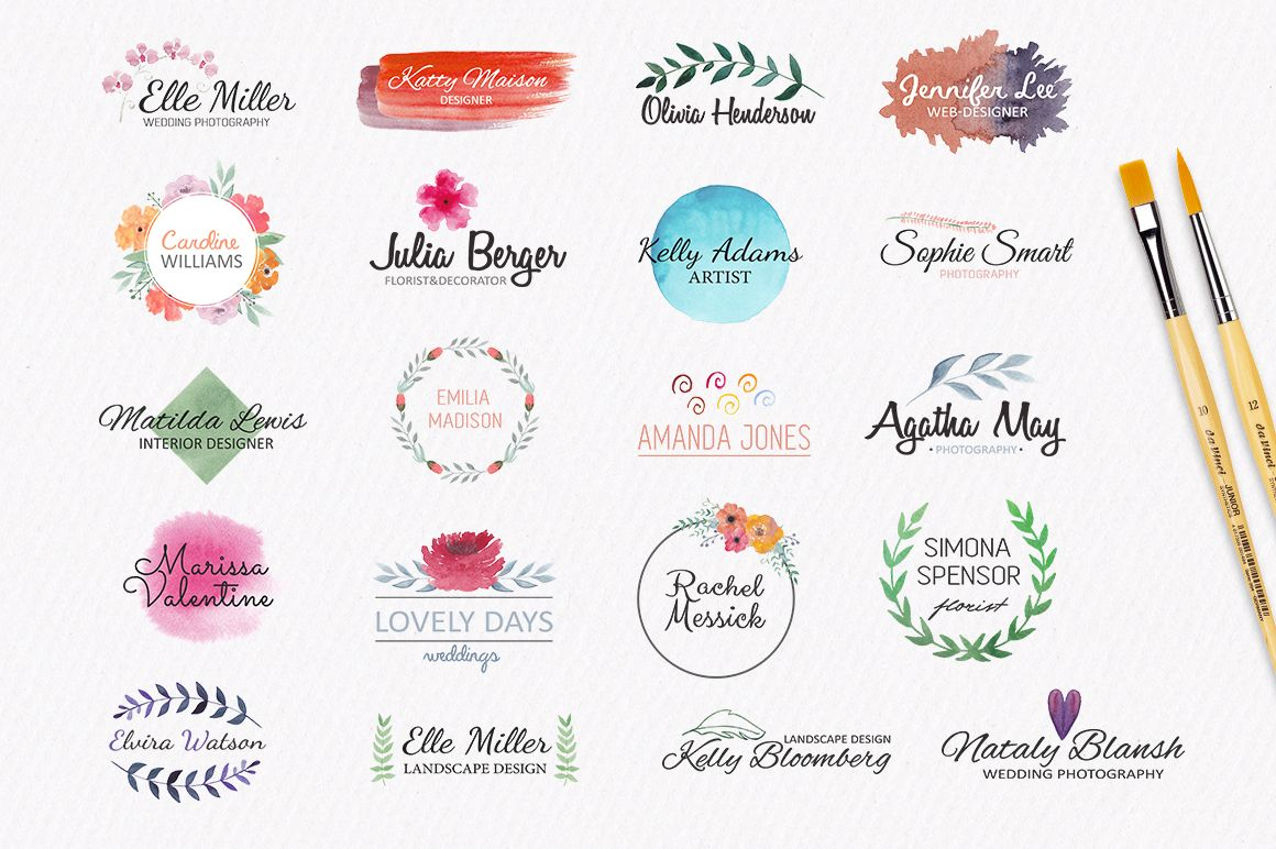 Watercolor Logo Templates By Switzergirl On Creativemarket