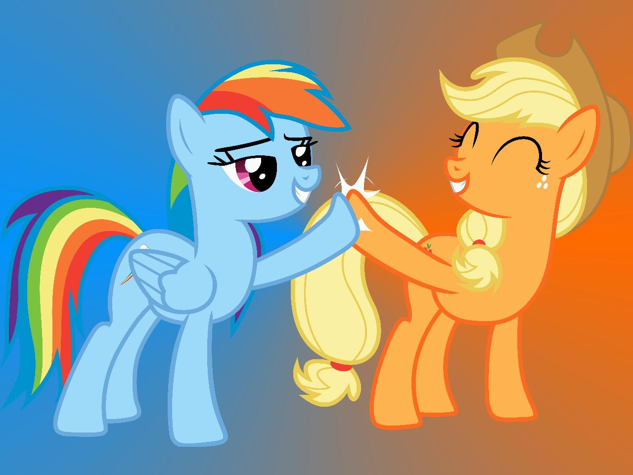 Applejack And Rainbow Dash Wallpaper By Lionovsky On Deviantart Rainbow Dash Applejack My Little Pony Friendship