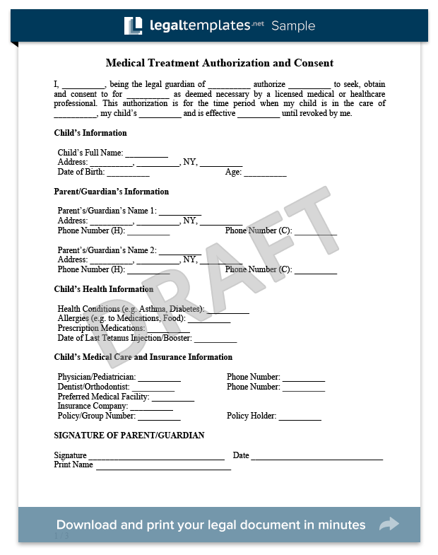 Child Medical Consent Form Sample  For More Information On The