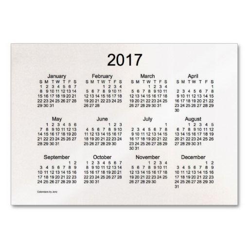 2017 Pocket Calendar Business Card Template