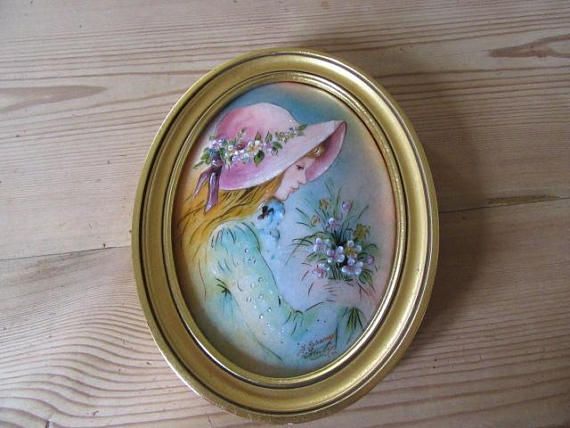 Limoges Porcelain Plaque Hand Painted Picture Of Girl Enamel Hand Painted Handmade Limoges