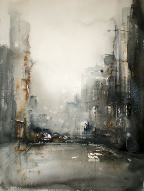 stadt silhouette schwarz grau weiss malerei kunst gemalde abstrakte stier gemälde abstrakt gerhard richter bilder