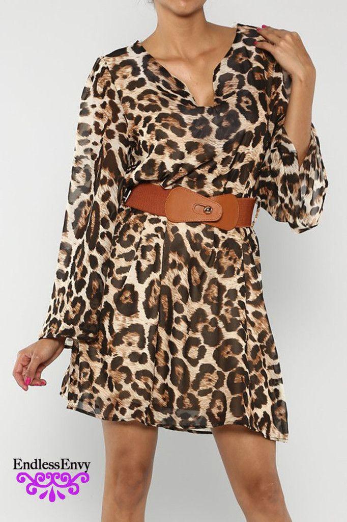 Leopard Belted Flare Dress