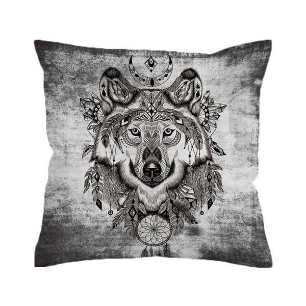 Wolf with Dreamcatcher Throw Cover , Geometric Decorative Pillow Cover for Wolf Lovers. Bohemian vibe wolves. Native American Style Wolves. #wolf #wolfdog #wolves #nature #animals #wolfpack #art #artist #wolfhybrid #livewithwolves #lovewolves #whitewolf #worldofwolves #animalart #awesomeanimals