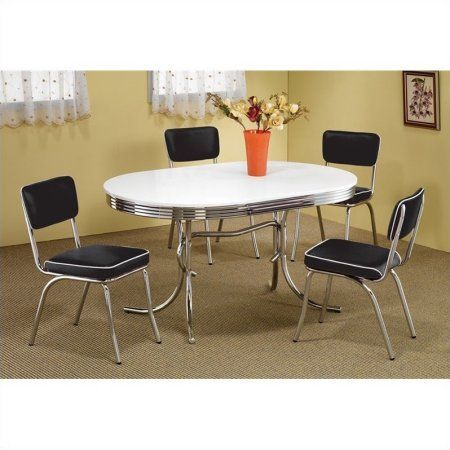 Coaster Oval Retro Dining Table With 4 Chairs In Chrome  Retro Amusing Retro Dining Room Tables Review