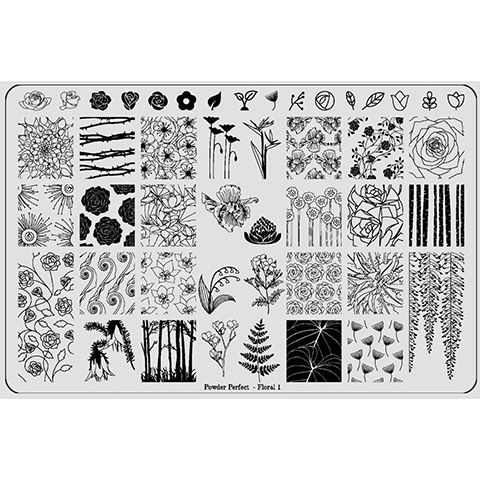 Powder Perfect- Stamping Plates - Floral 01