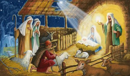 In A Stable by Joseph Holodook ~ Nativity of Jesus ~ Holy Family ~ shepherds