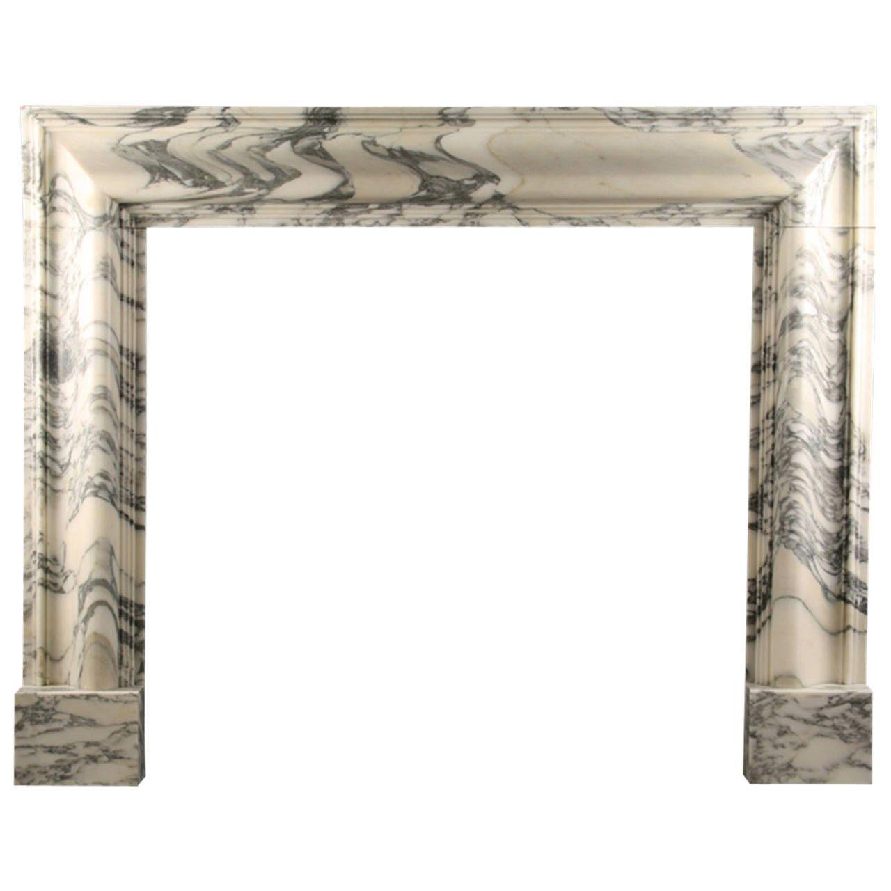 Baroque Bolection Fireplace In Italian Arabescato Marble Marble Fireplace Mantle Marble Fireplaces Arabescato Marble
