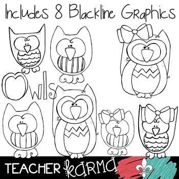 Owl Doodles #2 Clipart ~ Commercial Use OK ~ Animals   ÇerÇeve