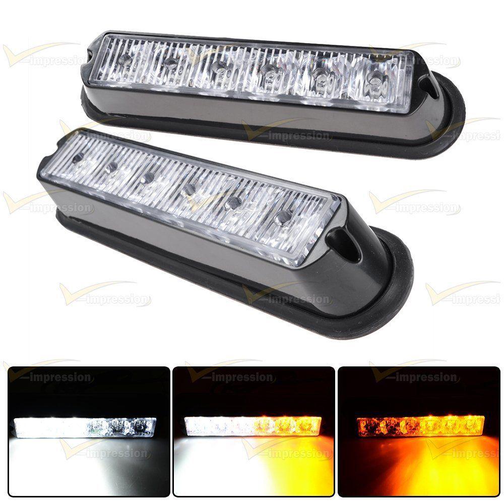 Led Strobe Lights For Trucks Amazing 2X Whiteamber 6Led 16 Flashing Car Truck Warning Hazard Emergency Inspiration Design
