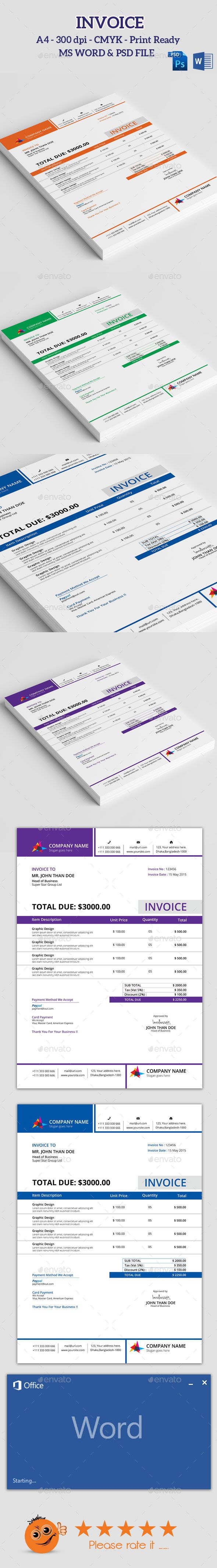 Clean Invoice With Ms Word Pinterest Template Business Proposal