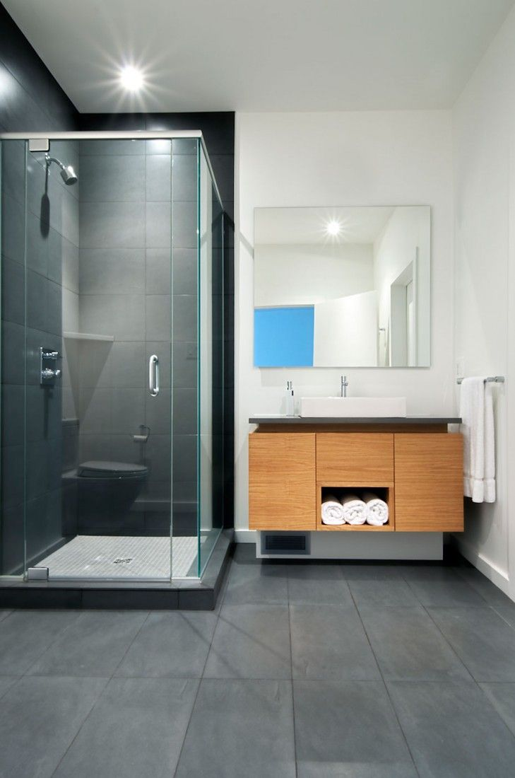 Wonderful Modern Residence Design In Living Area : Minimalist Bathroom With  Dark Gray And White Colors