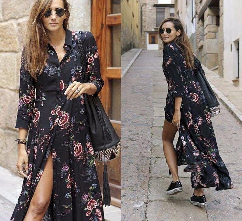 95222676c4 Details about NWT ZARA AW18 LONG FLORAL PRINT DRESS BLACK SHIRT ...