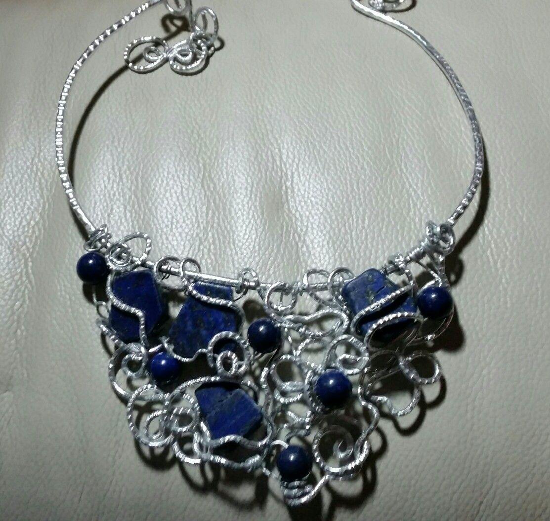 """Collier """"caos"""" wire alluminio e lapislazzuli"""