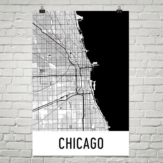 9c8365949 Chicago Map Art Print