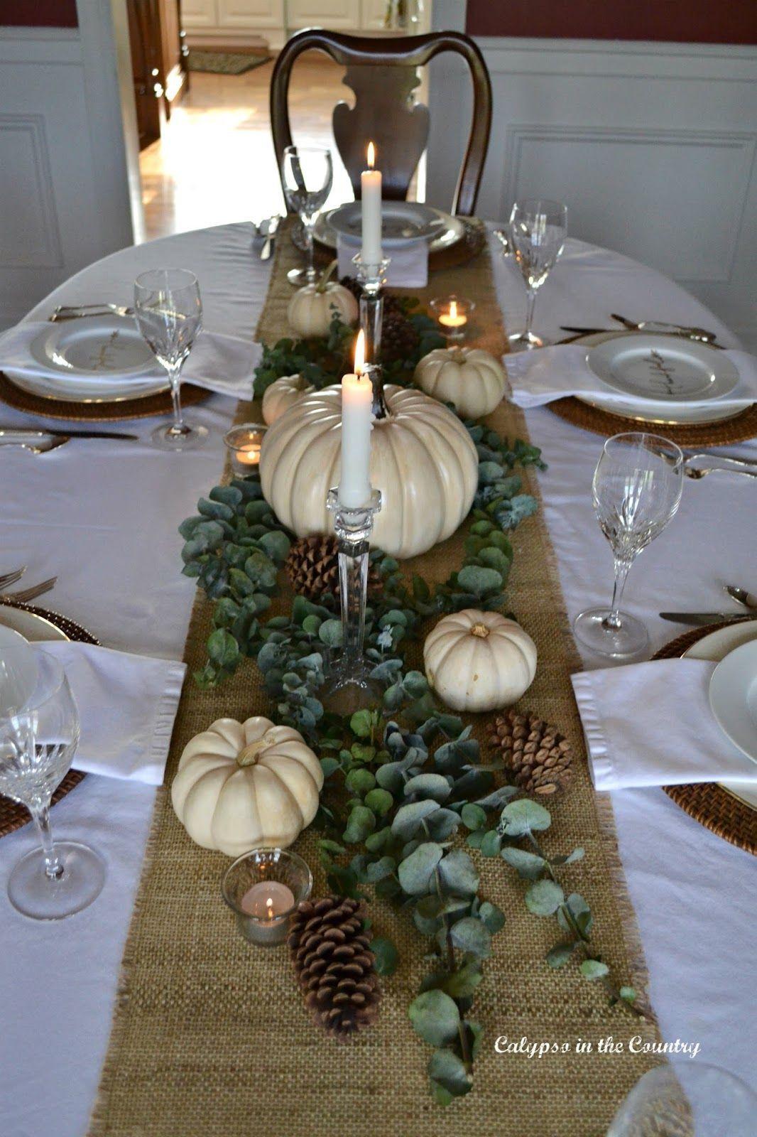 #Eucalyptus #Pumpkins #Setting #Table #textures #thanksgiving #White Thanksgiving Table Setting with White Pumpkins, textures and eucalyptus.  #thanksgivingtable #thanksgivingdecorations #whitepumpkins #tablesettings #thanksgivingtablesettings