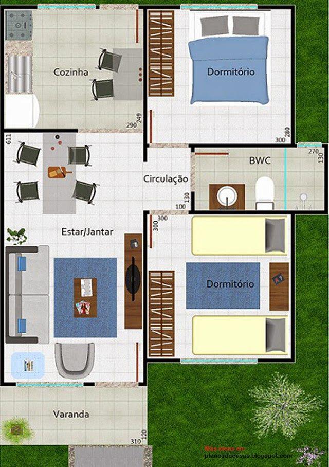 Plano de casa peque a moderna de 53 m2 planos modern for Fachadas de casas pequenas modernas de una planta
