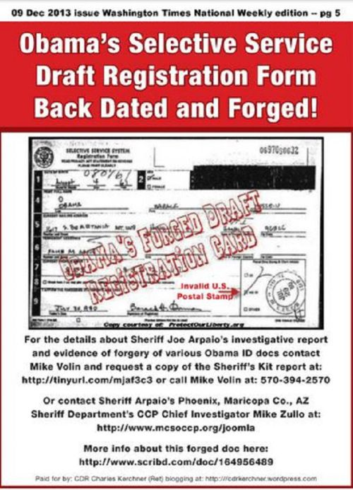 Washington Times full-page ad on Obamau0027s forged Selective Service - selective service registration form