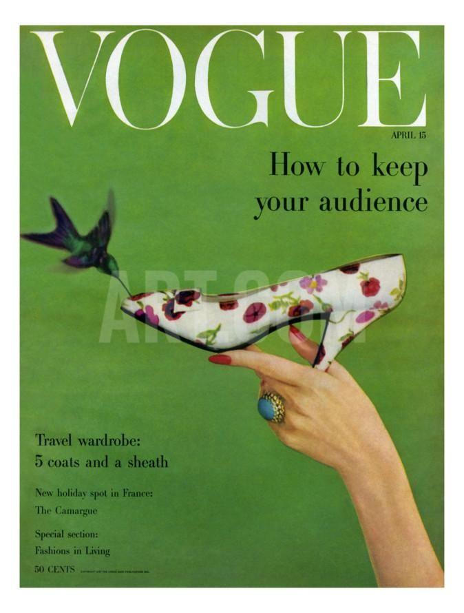 Vogue Cover - April 1957 Regular Giclee Print by Richard Rutledge at Art.com