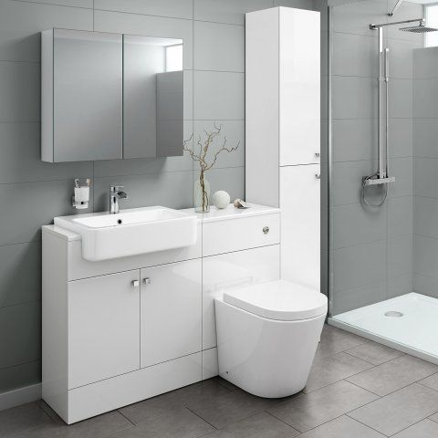 1500mm Harper Gloss White Combined Vanity Unit Tall Unit Lyon Pan Soak Com Toilet And Sink Unit Bathroom Units White Vanity Bathroom