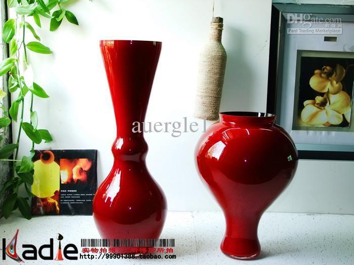 Red Black Floor Glass Vase Home Decoration Wedding Gift Art Bag