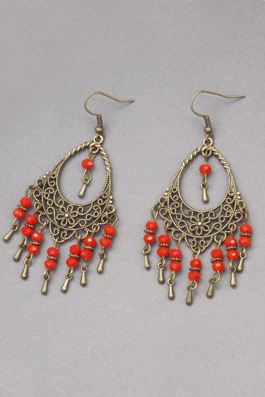 Bronze Earrings Bronze Floral Earrings Beaded Earrings Red Flower Earrings Boho Hoop Earrings Bronze Hoops Red Flower Earrings