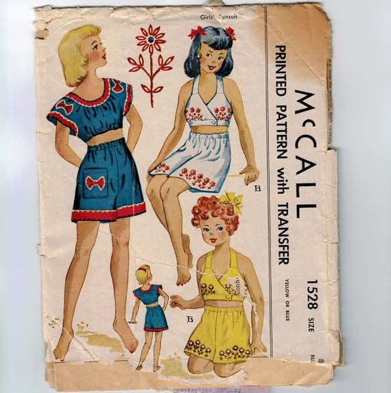 1940s Vintage Girls Sewing Pattern McCalls 1528 Sunsuit Size 8 Breast 26