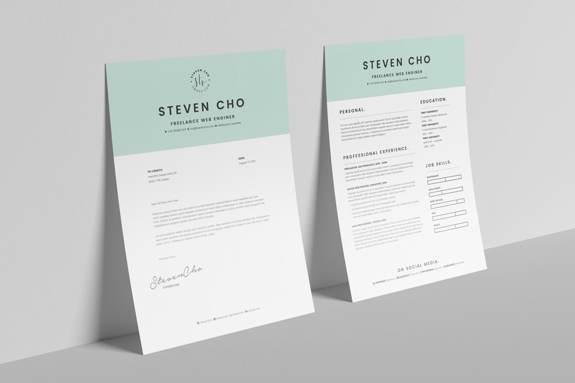 Cover letter template indesign cover