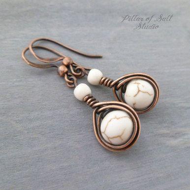 Photo of White Magnesite Copper teardrop earrings