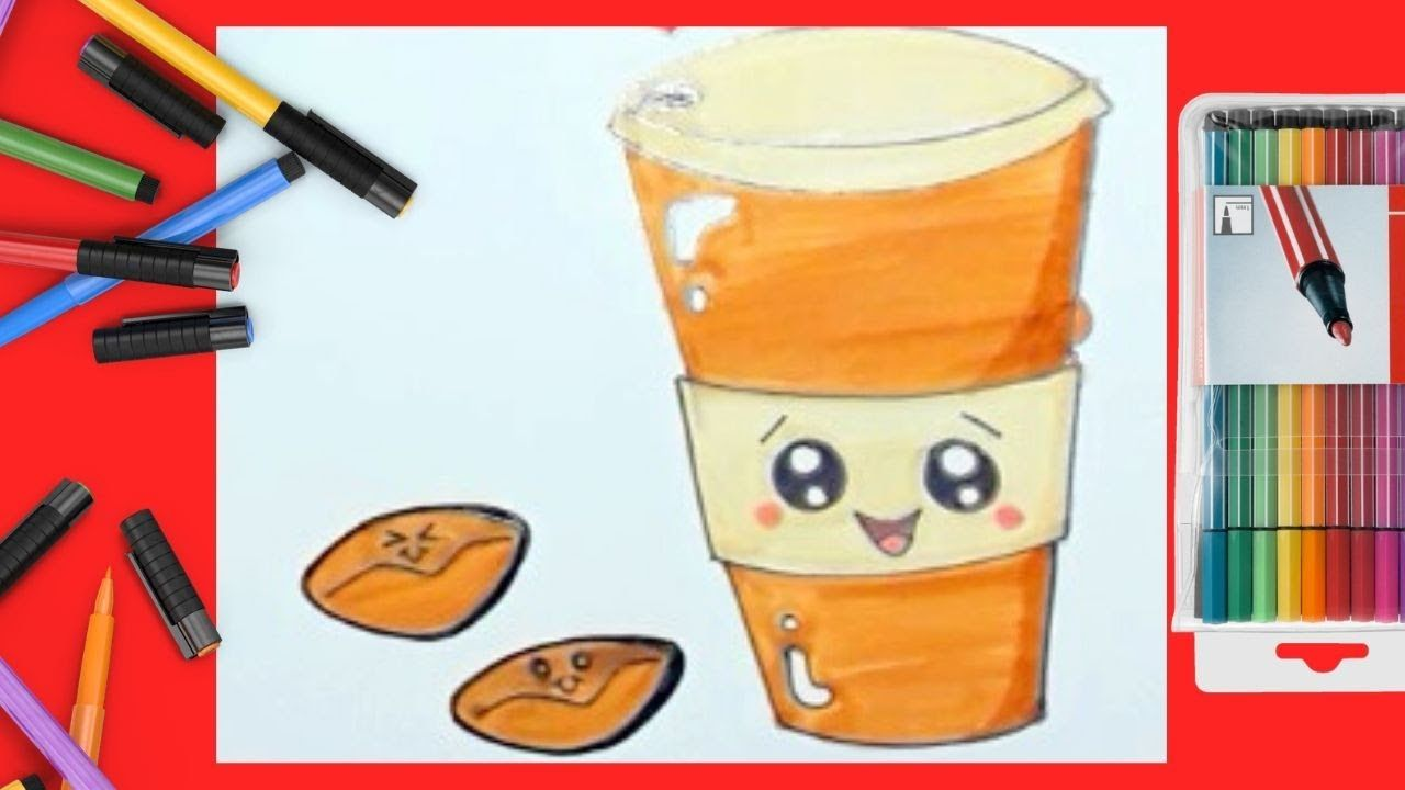 How to Draw a Cute Coffee Cup Step by Step | Cute coffee ...