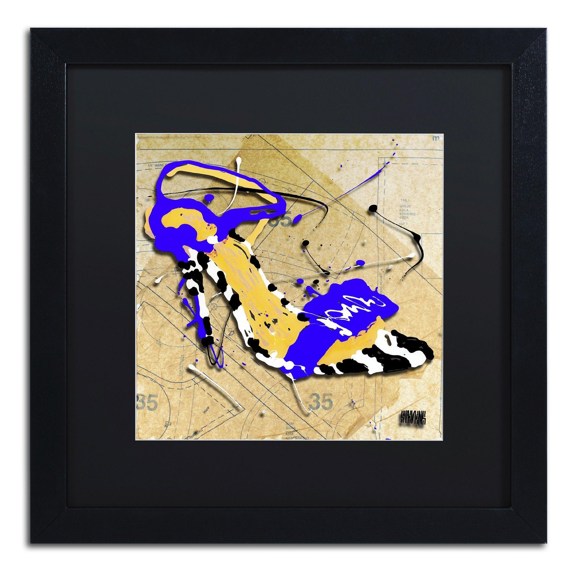 Zebra Heel Blue by Roderick Stevens Matted Framed Graphic Art