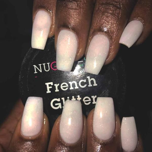 Glitter Do you love white and a hint of glitter? Try NuGenesis Nails French Glitter dip powder on your fingertips.Do you love white and a hint of glitter? Try NuGenesis Nails French Glitter dip powder on your fingertips.
