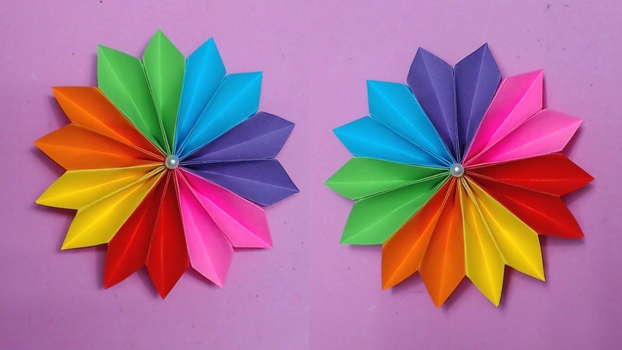 How To Make Easy Flower With Color Paper Making Paper Flowers Step