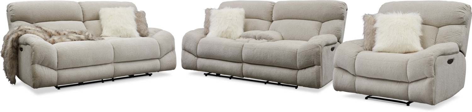 Amazing Wave Dual Power Reclining Sofa Loveseat And Recliner Set Ocoug Best Dining Table And Chair Ideas Images Ocougorg