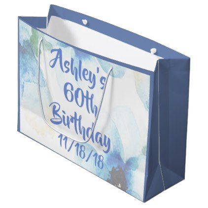 Floral Watercolor 60th Birthday Large Gift Bag