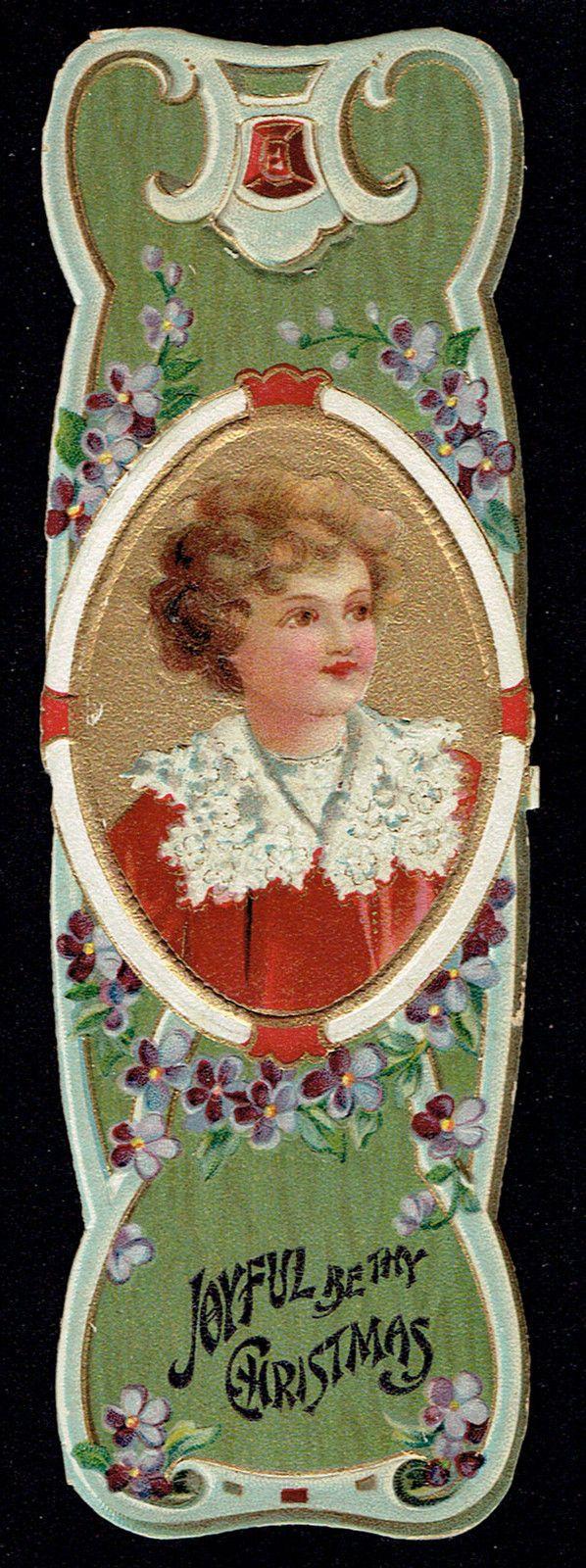 Joyful Christmas Greetings~Ellen Clapsaddle Illustration~Pansies~Ruby~Bookmark | eBay