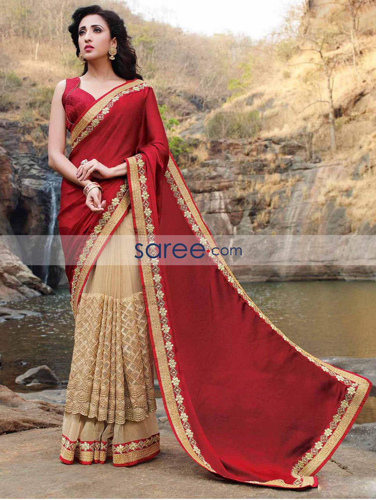 Red and beige chiffon silk saree with zari embroidery work saree