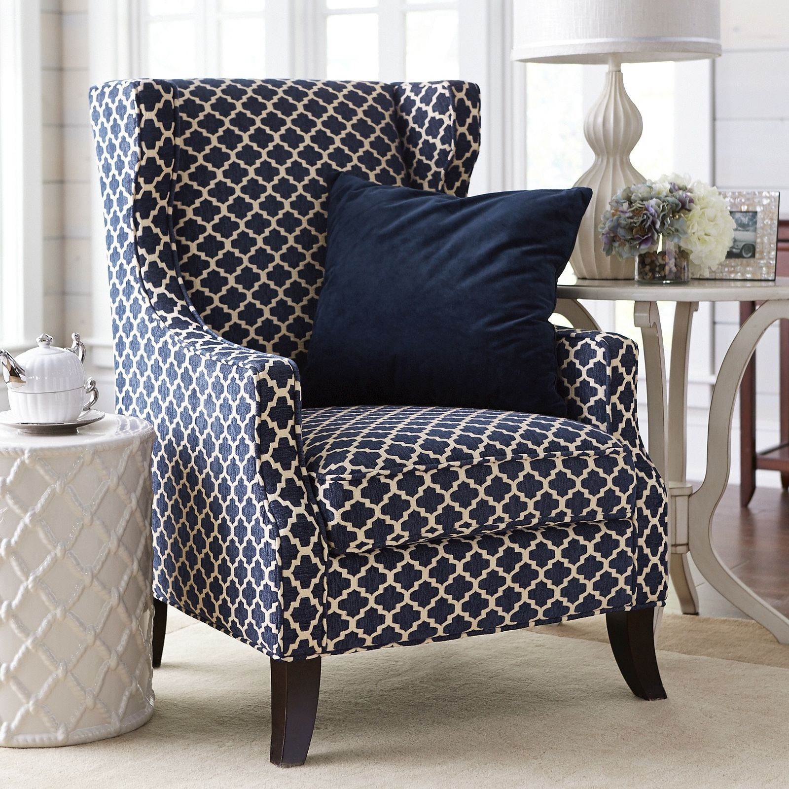 Blue And White Upholstered Chairs Wicker Papasan Chair Navy Trellis Wing Central Heating Wingback