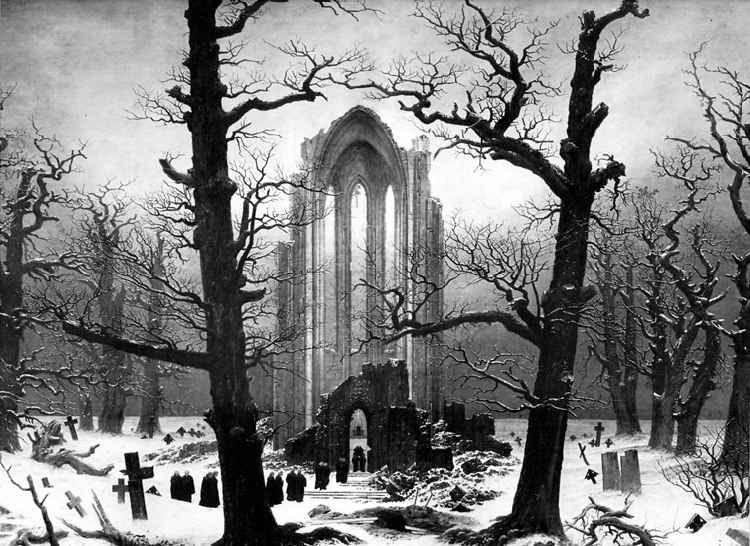 Gothic Ruin In Dead Winter Forest Caspar David Friedrich