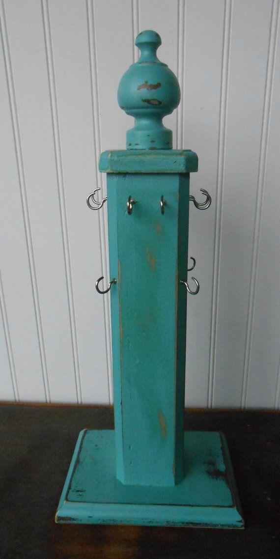 Jewelry Display Stand Vintage Repurposed Preppy Wood