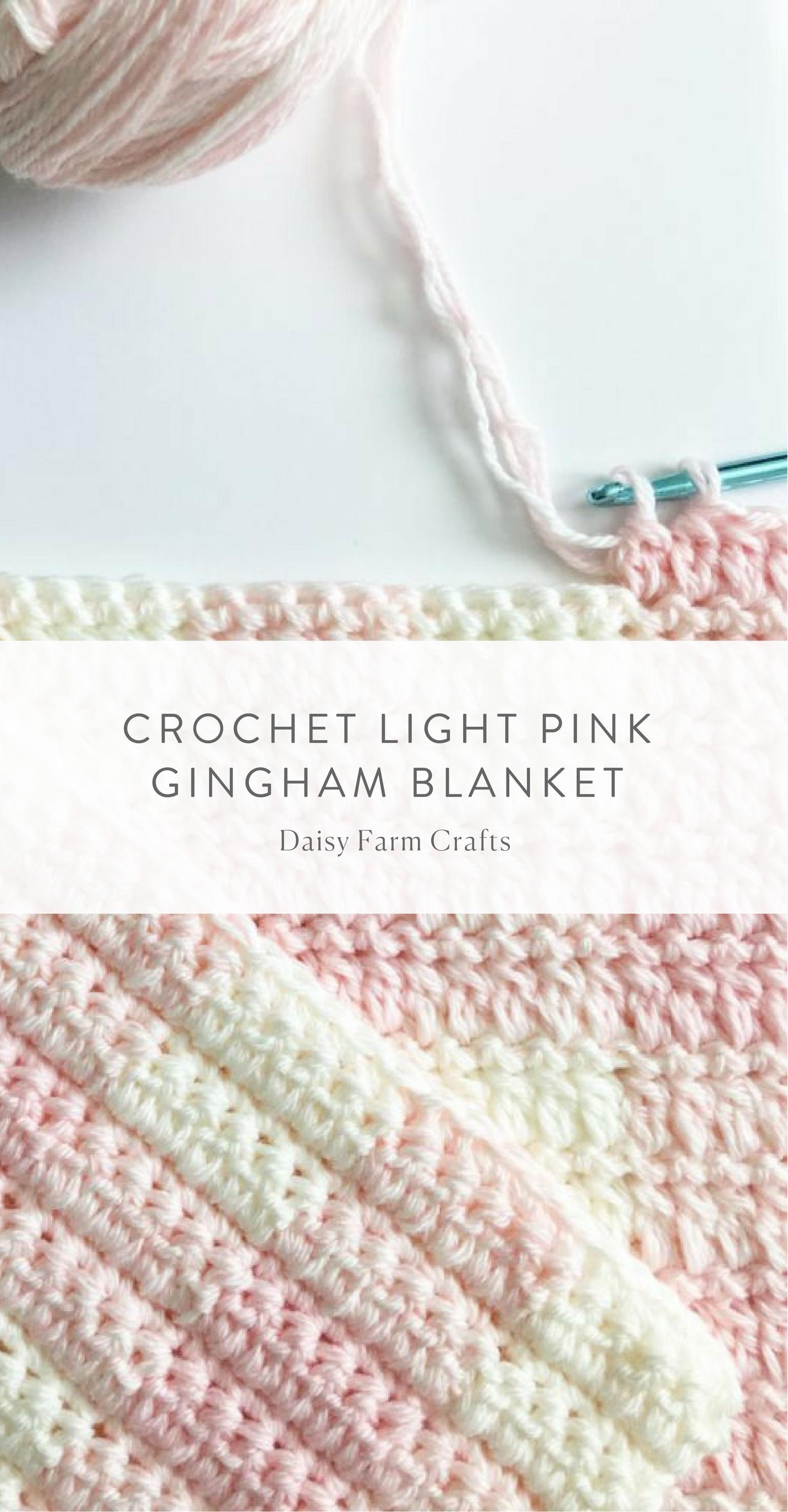 8 Crochet Light Pink Gingham Blanket | Afghans | Pinterest | Mantas ...
