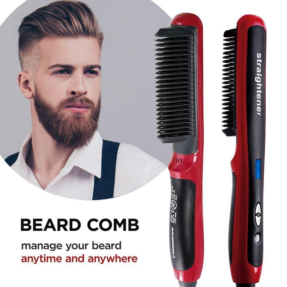 Instant Beard Comb Straightener In 2020 Beard Straightening Hair Brush Straightener Straightening Brush
