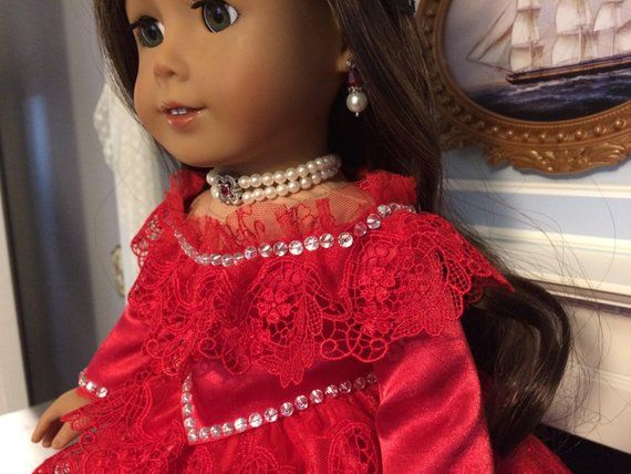 Price Reduced - 18 American Girl Doll - Victorian Red Lace Ball Gown - Felicity, Caroline #dollvictoriandressstyles