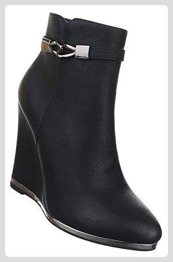 info for bd44b f758f Damen Stiefeletten Schuhe Keilabsatz Schwarz 37 - Stiefel ...